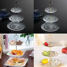 3 Tier Gold Silver Crown Cake Plate Stand Centre Handle Fitting Wedding Party