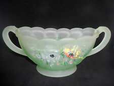 Art Deco Bagley Large Green Frosted Evesham Vase With Frog