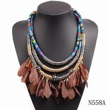 new design vintage rope chain chunky statement choker collar feather necklace