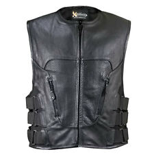 Xelement XS-1467 Stripped Black Leather Biker Vest