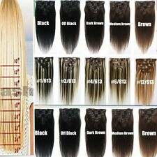 "Luxury 6/7/8 Pcs 15"" -26"" Clip In Remy Real 100% Human Hair Extensions Full Head"
