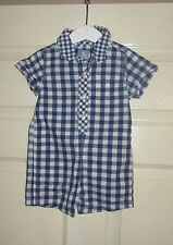 GAP LOVELY BABY BOYS BLUE GINGHAM ROMPER  ALL IN ONE OUTFIT - 6 - 12 MONTHS