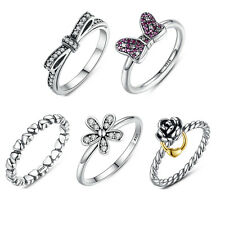 Authentic S925 Sterling Silver Ring Sparkling CZ Women Band Rings European Style