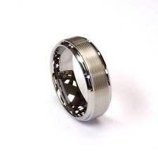 AMZ 8Mm Laser Lines Polished Steppd Edge Tungsten Carbide Mens Wedding Band Ring