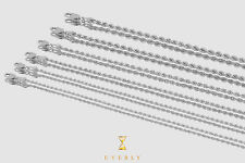 """1mm-2mm 14k Semi-Solid Rope Diamond Cut White Gold Chain Necklace Unisex 16""""-20"""""""