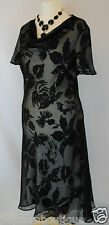 JACQUES VERT Dress Chiffon Black & Ivory Summer Wedding cocktail crinkle Cowl