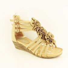 WOMENS LADIES SUMMER STRAPPY ANKLE MID HIGH WEDGE HEEL SANDALS SHOES SIZE 3-8