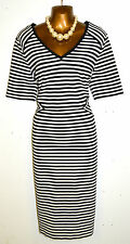 16 Marks & Spencer Black Cream Stripe Dress Wedding Races  New with Tag