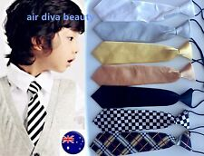 Boys Kids Child Elastic String Wedding Party Formal Casual Satin tuxedo Neck Tie