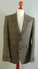 AUSTIN REED Mens Brown Navy Overcheck Wool Suit Jacket NEW