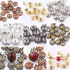 100Pcs Silver/Golden/Bronze/Black Plated Flower Bead Caps Jewelry Findings 12mm