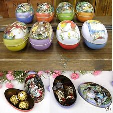 Easter Egg Tin Boxes Trinket Storage Candy Metal Jewelry Case Kids Party Gift