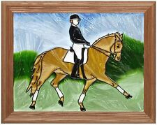 "Silver Creek Dressage Horse ~ 13.5"" x 16.5"" Art Glass Suncatcher"
