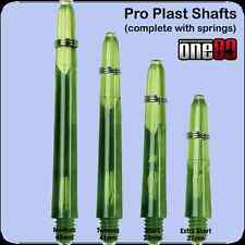 ONE80 PROPLAST Dart Stems & springs TRANSPARENT GREEN, choose length & No. Sets!