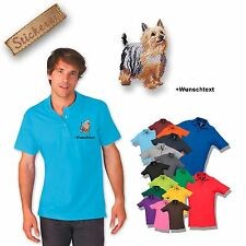 Polo Shirt Cotton Embroidery Dog Australian Silky Terrier + Text Of Your Choice