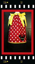 Custom Minnie Mouse Applique DRESS NAME 6M 24M 2T 3T 4 5 6  red polka dot Black