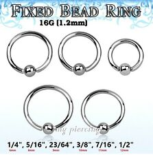 "2pc 16g 1/4""- 1/2"" Steel Fixed Ball Captive Bead Ring CBR Lip Earrings Cartilage"