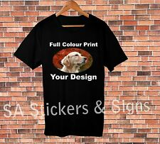 5x Custom Full Colour Black T-shirts with your design for sports or car clubs