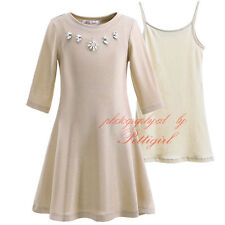 Girls Gold Party Skater Dress Cotton Vest Set Princess Dance Plain Flower Jewels