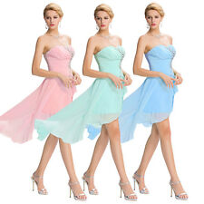 Pink Strapless Chiffon Evening Prom Party Dress Grade Bridesmaid Cocktail Summer