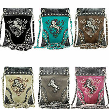 2030-W22 HORSE WESTERN RHINESTONE BODY HIPSTER SMALL PURSE iPHONE BAG BLING