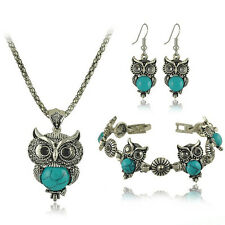 Antique Tibetan Crystal Owl Turquoise  Necklace Bracelet Earrings Jewelry Set