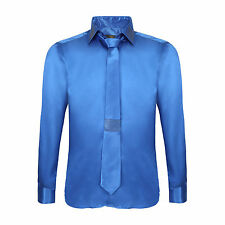 Robelli Men's Diamante Collar Cuff Satin Shirt & Matching Tie - Sky Blue
