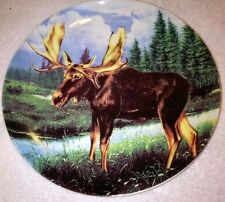 "ANTIQUE VINTAGE  RARE ""LONE MOOSE"" 10"" HAND PAINTED COLLECTOR PLATE"