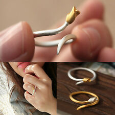 Women Girl Fashion Ring Gold Silver Adjustable Flower Open Knuckle Ring Jewelry