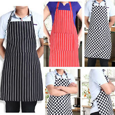 New Womens Mens Cooking Chef Kitchen Restaurant Stripe Bib Apron Dress &2 Pocket