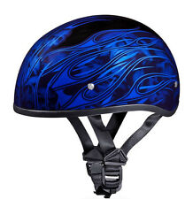 SMALLEST DOT Daytona BLUE FLAMES & SKULLS Motorcycle Half Helmet LOW PROFILE