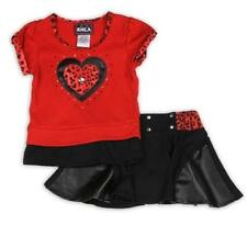 RMLA Girls 2-Piece Red & Black Animal Print w Heart Shirt & Skort/Scooter Outfit