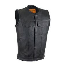 "Mens Son of Anarchy Leather 1/2"" Collar Motorcycle Club Vest"