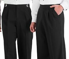 NEW 30-31-32 Mens Black Pleated Wool Tuxedo Pants Adjustable Formal Trousers