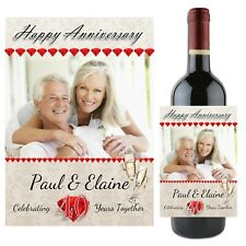 Personalised Ruby 40th Wedding Anniversary Wine Champagne Bottle Label N94