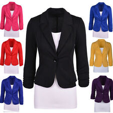 Fashion Women Candy Color Blazer Jacket Suit Work Casual Long Sleeve Button Tops