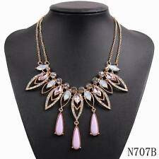 2016 new fashion design chain chunky statement rhinestone crystal necklace