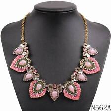 new fashion gold chain crystal resin statement bead party choker collar jewelry