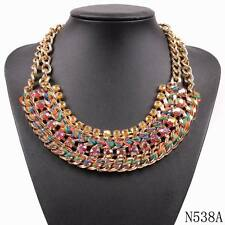 2017 new fashion gold plated chain yarn braided crystal bib statement necklace