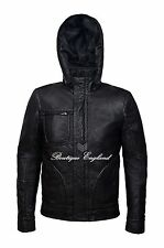 'GHOST PROTOCOL' Men's Black WRINKLED Hooded Mission Impossible Leather Jacket