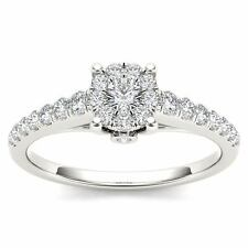 10Kt White Gold 0.50 Ct Diamond Engagement Halo Ring