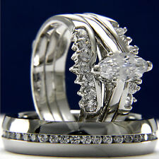 Women Rhodium Plated 0.9ct CZ Solitaire Wedding Engagement & Man Bridal Ring Set