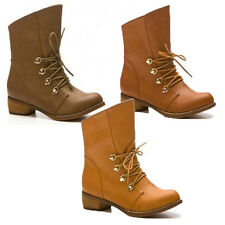 NEW WOMENS LADIES LACE UP LOW FLAT HEEL CHELSEA ANKLE BOOTS SHOES SIZE 3-8