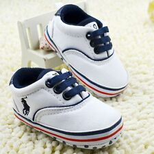 Baby Boy Girl white Toddle infant Soft Sole Crib Shoes sneaker Size 0-18 Months
