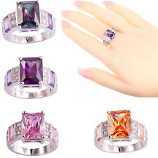 4Color Emerald Cut Topaz Gemstone White Gold Silver Plated Rings Jewelry Gift