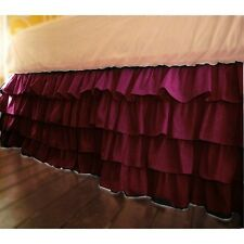 Home Decor Multi Ruffle Bed Skirt/Valance Drop 8 To 30 Inch Burgundy Solid