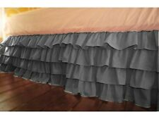 Home Decor Multi Ruffle Bed Skirt/Valance Drop 8 To 30 Inch Dark Grey Solid