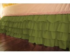 Home Decor Multi Ruffle Bed Skirt/Valance Drop 8 To 30 Inch Moss Solid