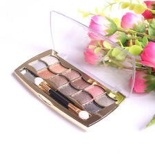 12 Colors Pro Eyeshadow Shimmer Palette & Cosmetic Brush Makeup Beauty 1 Set Hot