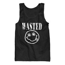 WASTED SMILEY FACE POT LEAF WEED MARIJUANA 420 FUNNY MENS COTTON JERSEY TANK TOP